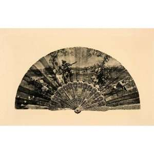 Art Decorative Paper Hand Fan Romance Serenade   Original Photogravure