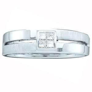 Carat Invisible Princess Diamond 14k White Gold Wedding Ring Jewelry