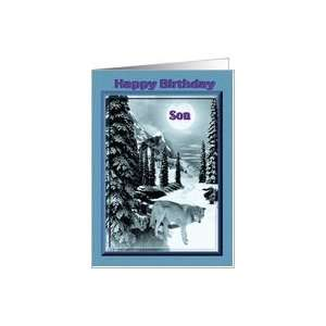 Happy Birthday / Son / Wolf in winter scene Card: Toys & Games