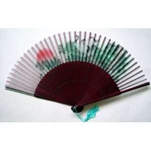 Chinese Art Hand Painting Silk Bamboo Fan Crane