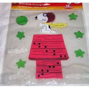 Peanuts Snoopy Flying Ace Pilot on Doghouse Jelz Window Clings