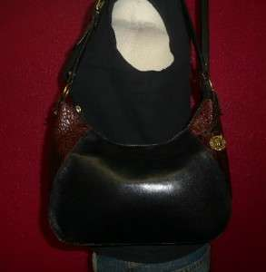 Vintage BRAHMIN Smaller Black Leather CROCO Hobo Tote Shoulder Purse