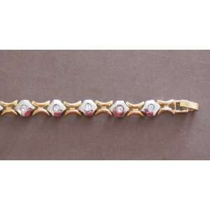 Ladies Fashion Tennis Style Bracelet Gold & Silver Tone