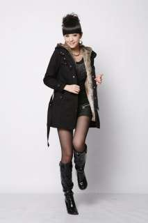 NEW Womens 2in1 Hooded Fur Winter Long Coat Outerwear