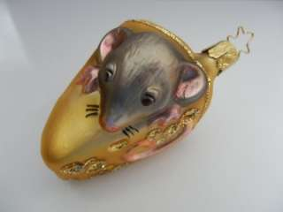 INGE GLAS MOUSE CHEESE GERMAN BLOWN GLASS CHRISTMAS ORNAMENT MAUS
