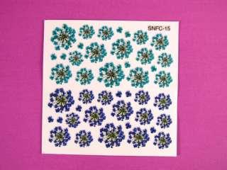 Glitter Gel Nail Art Flower Sticker Floral Decals S3