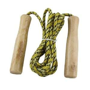 Wooden Handle Jump Skipping Rope Yellow Black