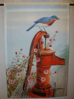 New Country Garden Flag BLUE BIRD on rusty WATER PUMP