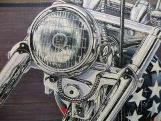 Oil Painting MOTORCYCLE ART Easy Rider Harley Davidson CAPTAIN AMERICA