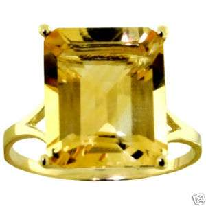 ct Natural Citrine Emerald Cut Gemstone Ring Solid 14K. Yellow