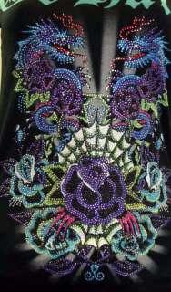 ED Hardy Womens T shirt Rose Web Double Dragon STONES