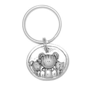 Clayvision Little Girl, Dog, & Cat Oval Pendant Key Chain