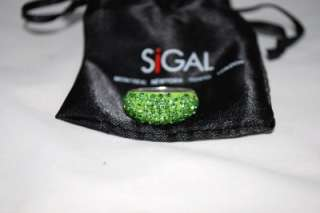 New Sterling Silver Green Pave Crystal Ring David Sigal