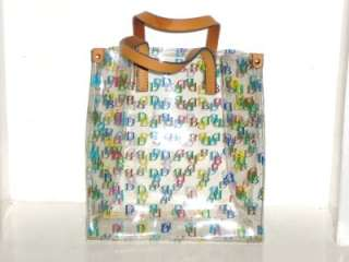 Auth Clear Rainbow IT Logo And Tan Leather Lunch Bag Tote EUC
