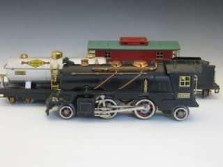PRE WAR LIONEL O GAGE 261 STEAM LOCO & TENDER WITH 3 FREIGHT CARS NO