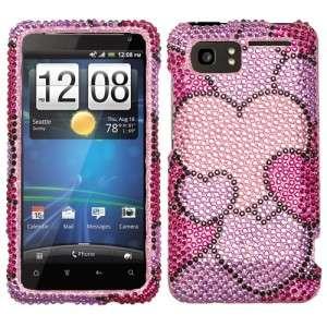 Vivid Crystal Diamond BLING Hard Case Phone Cover Cloudy Hearts