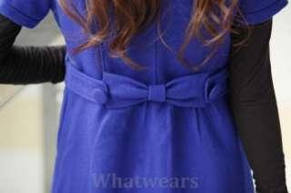 Womens Slim Round Neck Wool Long Winter Dress Coat #10