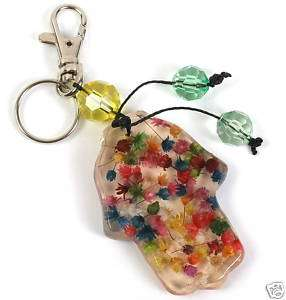 Keychain with Real colorful dried Dry Flowers Key Ring Made in Israel
