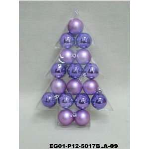 Christmas Ornaments Set Of 17Pc 2 Purple Shiny Matt Ball