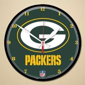 Green Bay Packers Logo & Name Round Wall Clock: Sports