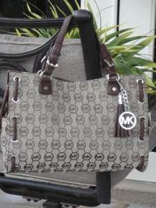 NEW MICHAEL KORS SALINAS LARGE SATCHEL BAG TOTE BRAIDED LEATHER BEIGE