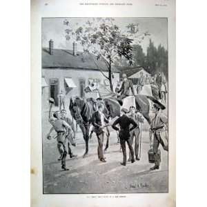 1896 Great Day Newspaper Village Scene Horse Celebrate