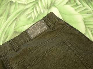 AUTHENTIC GUESS Black and Gold 5 Pocket Flat Front Jeans Womens Sz 4