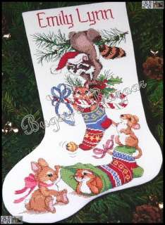 FRISKY FRIENDS STOCKING Christmas Counted Cross Stitch Kit