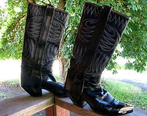 Handmade Cowboy Boots Black Royal Blue Used size 9 Womens Metal tip