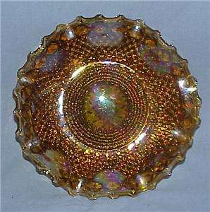 ~IRIDESCENT~HARVEST GOLD~CARNIVAL GLASS~CRIMPED HOSTESS PLATE~VINTAGE
