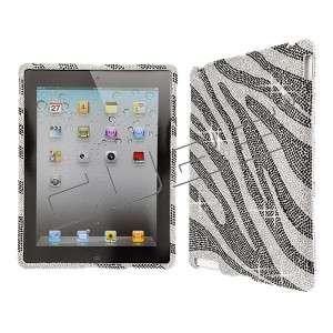 Zebra Black CRYSTAL RHINESTONE DIAMOND BLING COVER CASE 4 Apple iPad 2