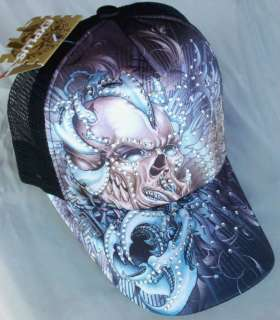 TATTOO Santa Muerte Skull Rhinestone Trucker Mesh Fashion Ball Cap