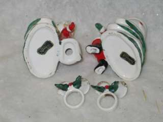 Vtg Christmas Norcrest Santa Mrs Claus Candle Holders