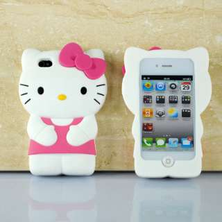 3D Cute Soft Silicone Hello Kitty Case Cover Skin For iPhone 4 G 4G 4S