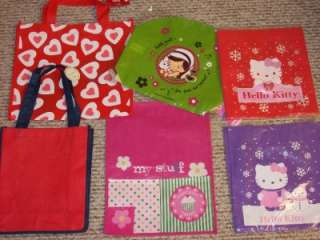 x2 Reusable Shopping Tote Bag Hello Kitty Hearts ~UPic
