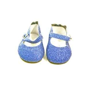 Girl Doll Clothes Blue Glitter Strap Dress Shoes Toys & Games