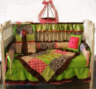 Brown Zebra/Hot pink/Lime Damask Baby bedding set