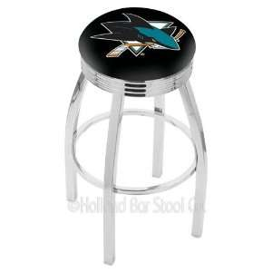 San Jose Sharks Logo Chrome Swivel Bar Stool Base with Ribbed Accent