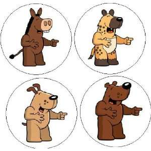 Set of 4 LAUGHING ANIMALS Funny Comedy Joke 1.25 MAGNETS