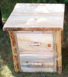 Rustic Pine Log 2 Drw Nightstand, lodge cabin furniture |