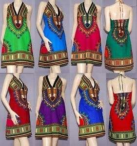 DASHIKI DRESS Ethnic AFRICAN Sun mini Skirt Hippie Boho