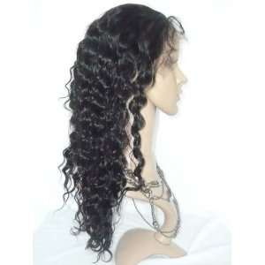 Lace Front Remy Chinese Human Hair 16in 1b Deep Wave Style Wig: Beauty