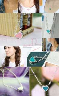 Fashion Sweet Cute White Blue Pink Tiny Heart Pendant Necklace