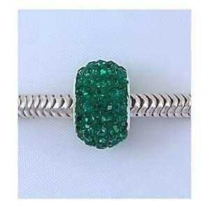 EMERALD Green Crystal Pave European Charm Bead