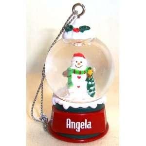 Angela Christmas Snowman Snow Globe Name Ornament