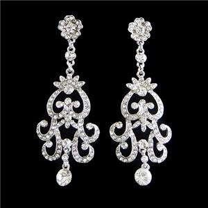 VTG Style Flower Necklace Earring Set Swarovski Crystal Floral Bridal