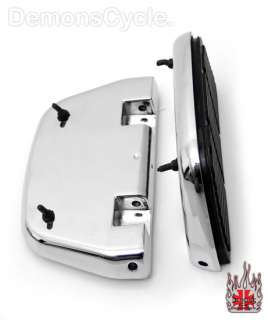 NEW CHROME ANTIVIBE PASSENGER FLOORBOARDS FOOT PEGS SET FOR HARLEY