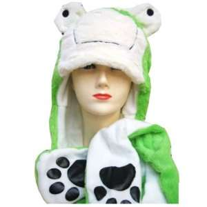 Plush Frog Animal Hat   Frog Hat with Ear Flaps and Hand