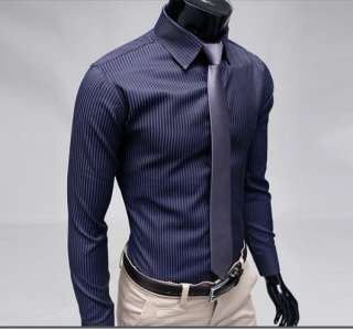 Fashion Stylish Slim Fit Designer Casual Striped Dress Shirts