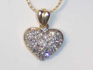 14K YELLOW GOLD ENCRUSTED DIAMOND HEART NECKLACE   TOTALLY COVERED IN